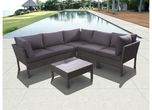International Home Miami Atlantic Infinity 6 piece Wicker Patio Seating Set Grey with Grey Cushions