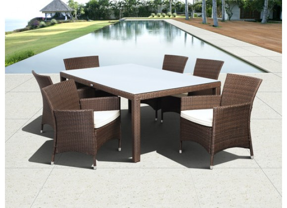 International Home Miami Atlantic Grand New Liberty Deluxe Rectangular 7 Piece Patio Dining Set withCushions