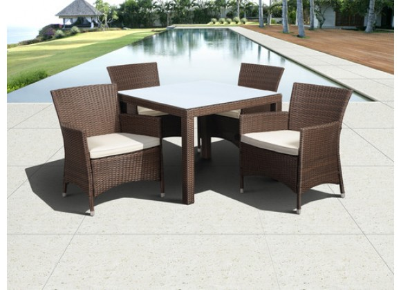 International Home Miami Atlantic Grand New Liberty Deluxe Square 5 Piece Patio Dining Set with Cushions