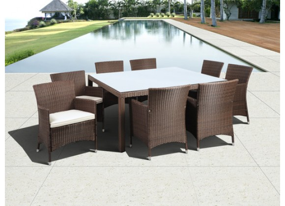 International Home Miami Atlantic Grand New Liberty Deluxe Square 9 Piece Patio Dining Set with Cushions