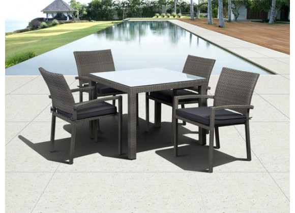 International Home Miami Atlantic Liberty Square 5 piece Armchair Dining Set Grey with Grey Cushions