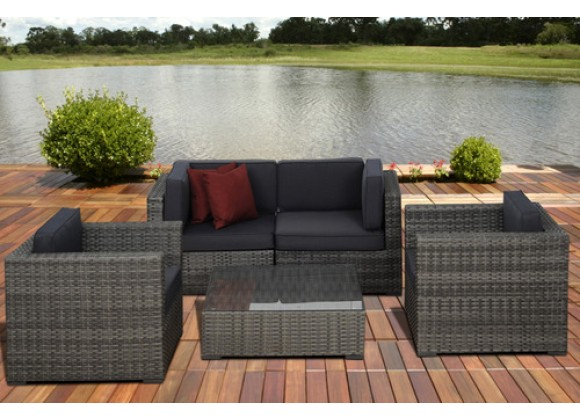 International Home Miami Atlantic Metz 5 pc Grey Wicker Seating Set with Cushions