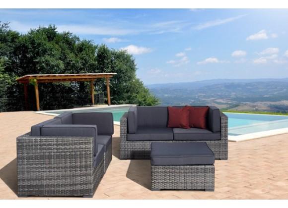 International Home Miami Atlantic Nice 5 pc Grey Wicker Seating Set with Cushions