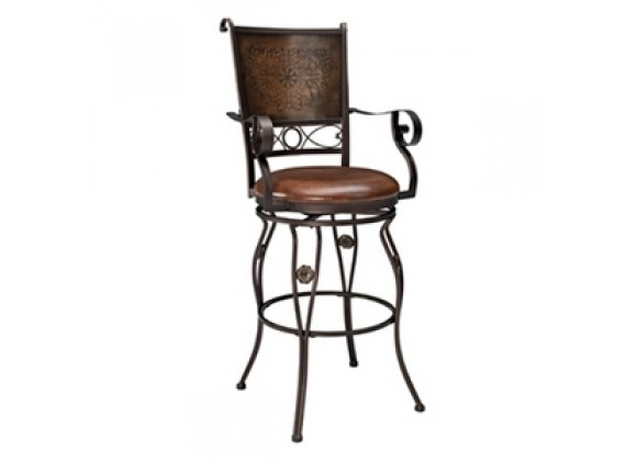 Powell Big and Tall Copper Stamped Back Barstool with Arms