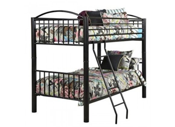 """Powell Heavy Metal """"Black"""" Twin Over Twin Bunk Bed"""