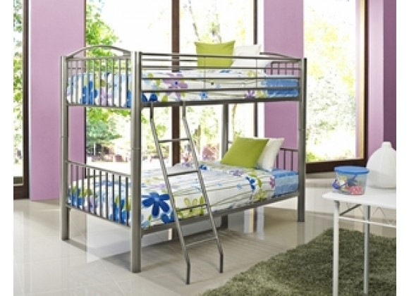 """Powell Heavy Metal """"Pewter"""" Twin Over Twin Bunk Bed"""