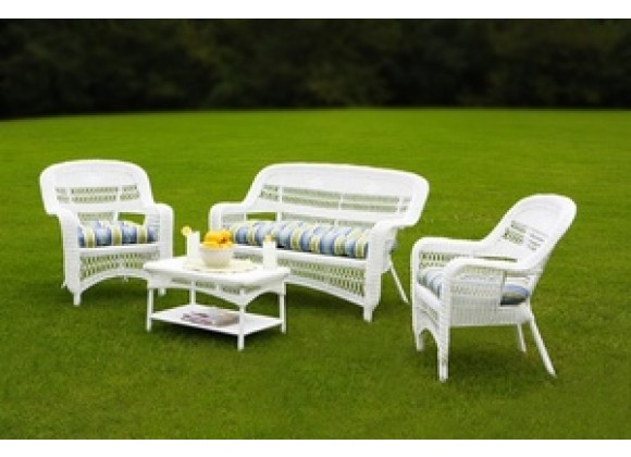 Tortuga Outdoor Portside Coastal White 4-Piece Seating Set