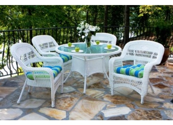 Tortuga Outdoor Portside Coastal White 5-Piece Dining Set - Lifestyle
