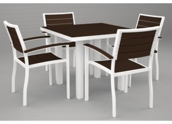 Poly-Wood Euro 5-Pc. Dining Set in White Aluminum Frame / Mahogany