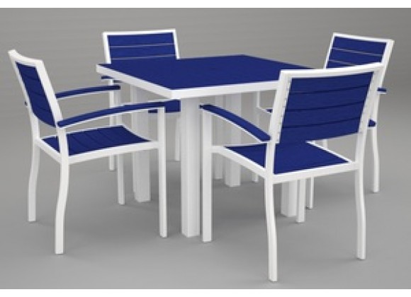 Poly-Wood Euro 5-Pc. Dining Set in White Aluminum Frame / Pacific Blue