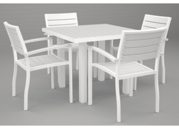 Poly-Wood Euro 5-Pc. Dining Set in White Aluminum Frame / White