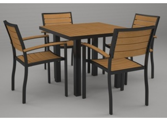 Poly-Wood Euro 5-Pc. Dining Set in Black Aluminum Frame / Plastique