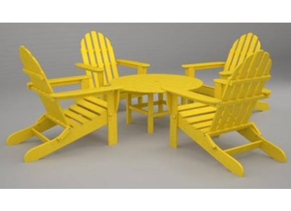 Poly-Wood Classic Adirondack 5-Pc. Conversation Group in Lemon