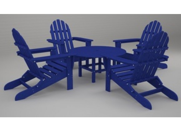 Poly-Wood Classic Adirondack 5-Pc. Conversation Group in Pacific Blue