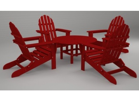 Poly-Wood Classic Adirondack 5-Pc. Conversation Group in Sunset Red