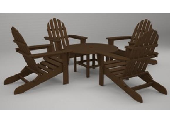 Poly-Wood Classic Adirondack 5-Pc. Conversation Group in Teak