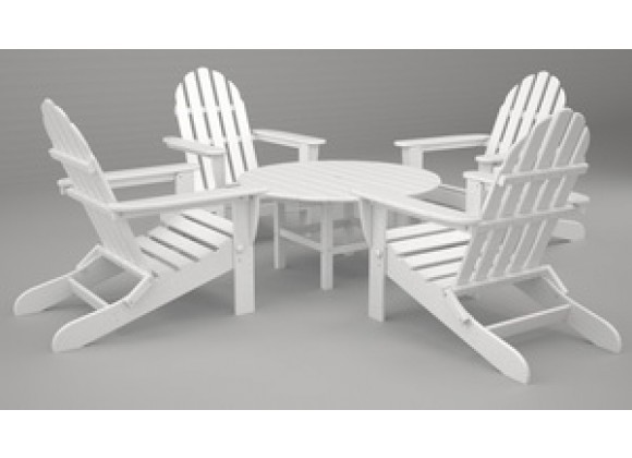 Poly-Wood Classic Adirondack 5-Pc. Conversation Group in White