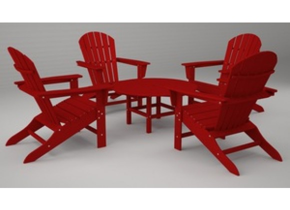Poly-Wood South Beach Adirondack 5-Pc. Conversation Group in Sunset Red