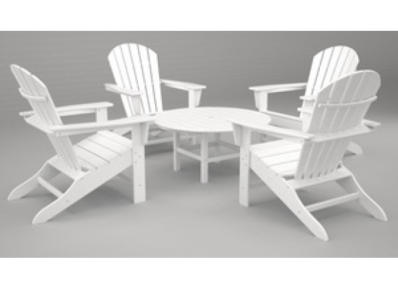 Poly-Wood South Beach Adirondack 5-Pc. Conversation Group in White