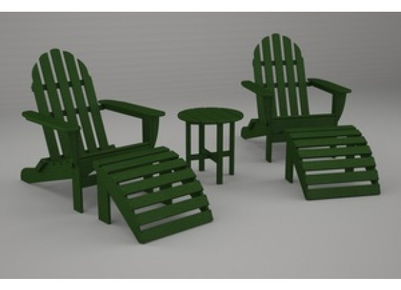 Poly-Wood Classic Adirondack 5-Pc. Casual Set in Green