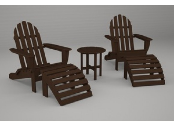 Poly-Wood Classic Adirondack 5-Pc. Casual Set in Mahogany