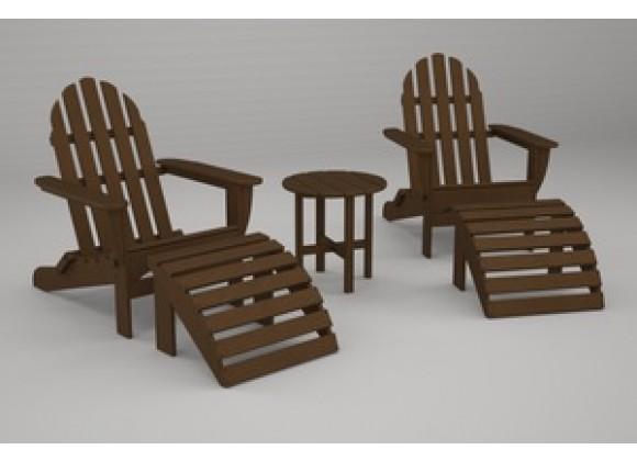 Poly-Wood Classic Adirondack 5-Pc. Casual Set in Teak