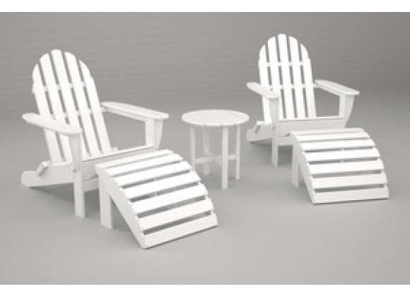 Poly-Wood Classic Adirondack 5-Pc. Casual Set in White