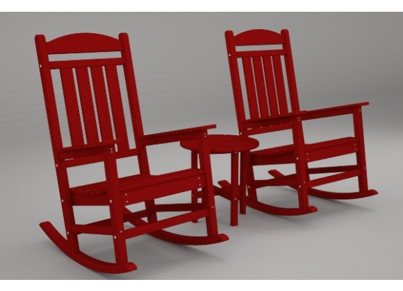 Poly-Wood Presidential 3-Pc. Rocker Set in Sunset Red