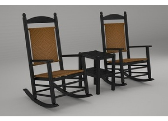 Poly-Wood Jefferson 3-Pc. Woven Rocker Set in Black Frame / Tigerwood