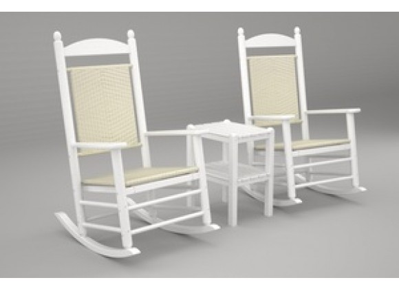 Poly-Wood Jefferson 3-Pc. Woven Rocker Set in White Frame / White Loom