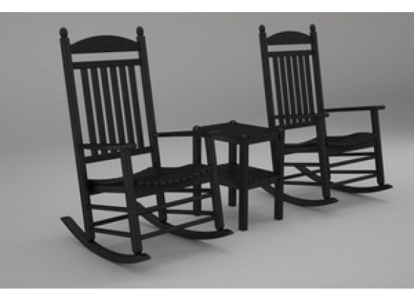 Poly-Wood Jefferson 3-Pc. Rocker Set in Black