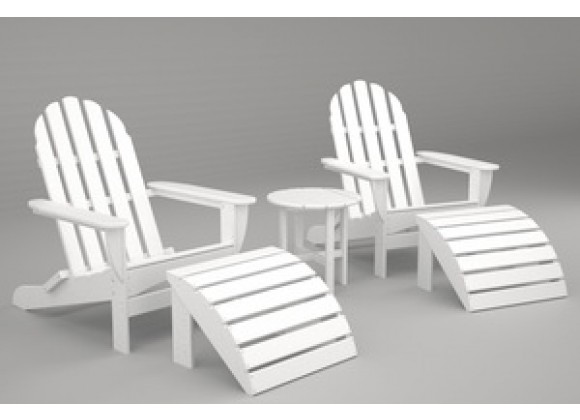 Poly-Wood Curved Back Adirondack Set in White