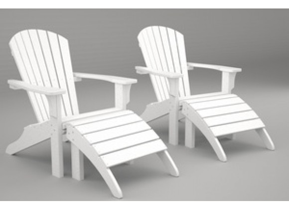 Poly-Wood Seashell Adirondack Set With Ottomans  in White