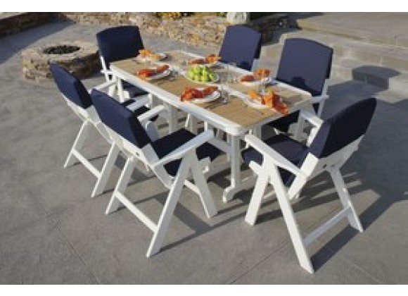 POLYWOOD¨ Nautical 7-Piece Dining Set w/ Slipcushionsª