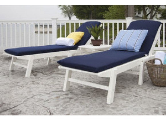POLYWOOD¨ Nautical 3-Piece Chaise Set with Cushions