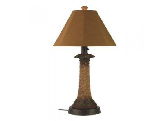 "Patio Concepts Palm 35"" Outdoor Table Lamp with Teak Sunbrella Shade"