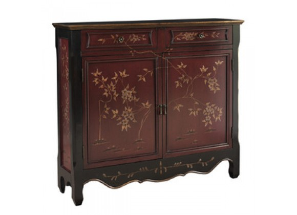Powell Red Oriental 2-Door Console
