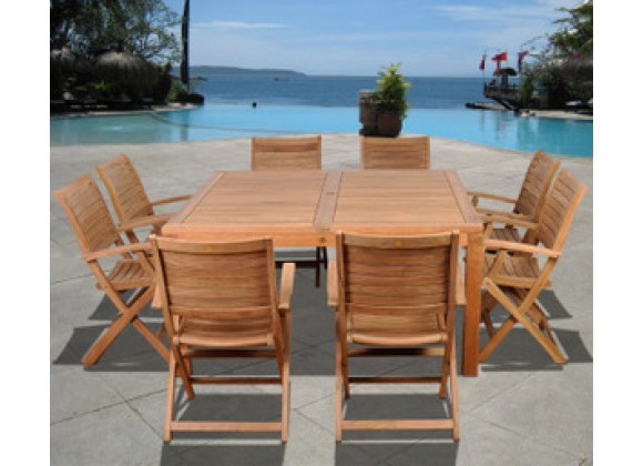 International Home Miami Amazonia Teak Boynton 9 pc Teak Square Dining Set