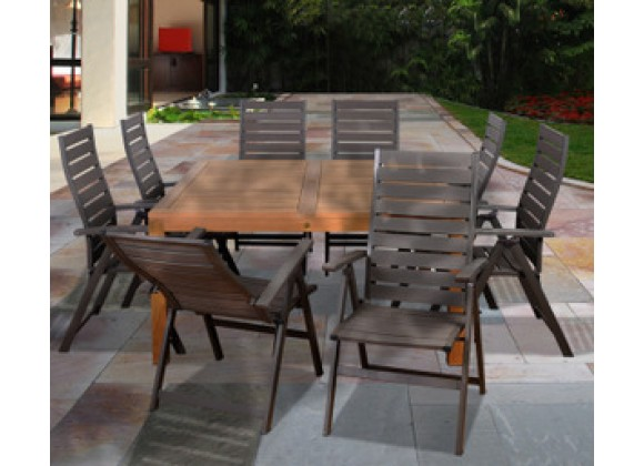 International Home Miami Amazonia Teak Tucson 9 pc Teak Square Dining Set