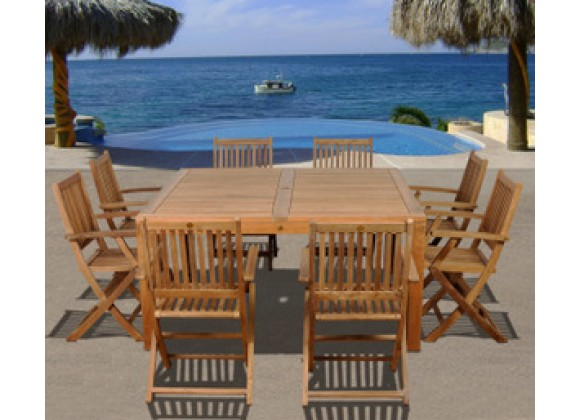 International Home Miami Amazonia Teak Dubai 9 pc Teak Square Dining Set