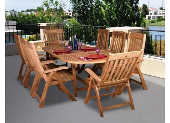 International Home Miami Amazonia Teak Belfast 9-pc Teak Dining Set