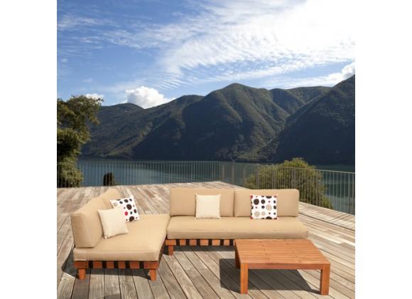 International Home Miami Amazonia Langkawi 3 Piece Eucalyptus Patio Seating Set with Inflatable Cushions