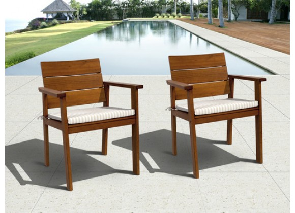International Home Miami Amazonia Nelson Eucalyptus Easy Carver 2 piece Patio Chair Set with Cushions