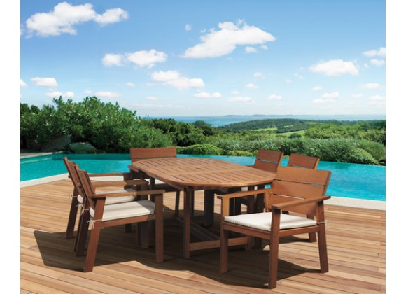 International Home Miami Amazonia Nelson Eucayptus 7 piece Oval Extendable Patio Dining Set
