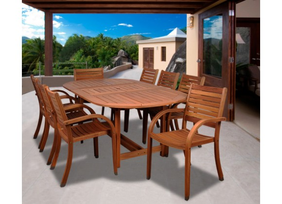 International Home Miami Amazonia Arizona 9 pc Eucalyptus Oval Dining Set