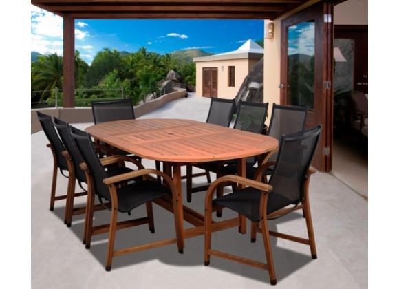 International Home Miami Amazonia Bahamas 9 Pc Eucalyptus Oval Dining Set