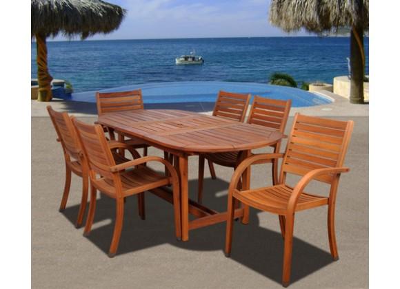 International Home Miami Amazonia Arizona 7 pc Eucalyptus Oval Dining Set