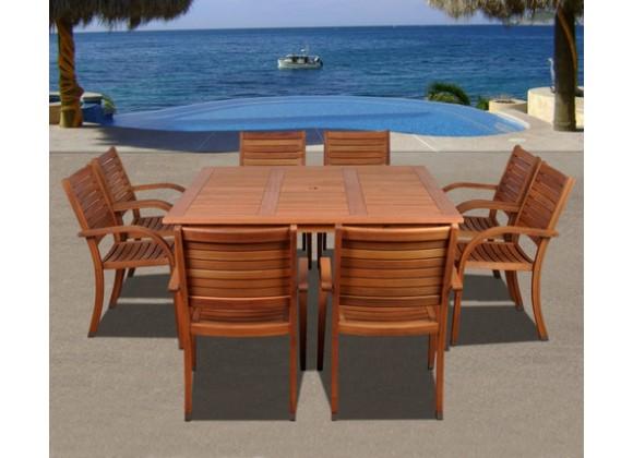 International Home Miami Amazonia Arizona 9 pc Eucalyptus Square Dining Set