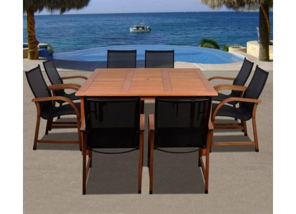 International Home Miami Amazonia Bahamas 9 Pc Eucalyptus Square Dining Set
