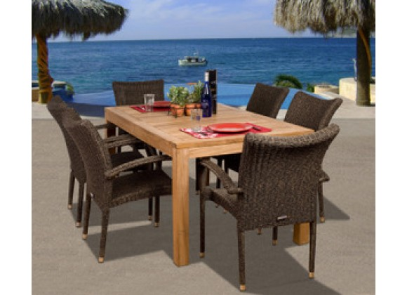 International Home Miami Amazonia Teak Brussels 7-pc Teak/Wicker Dining Set